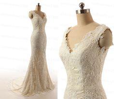 Champagne Cap Sleeve Handmade Mermaid Bridal by customdress1900