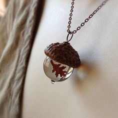 Glass Acorn Necklace  Encased Copper Oak Leaf  by bullseyebeads, $28.00