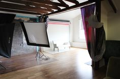 curtain separating natural light area from studio light area