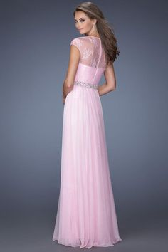 2014 Scoop Neckline Ruffled Prom Dress Short Lace Sleeves With Shirred Chiffon Skirt