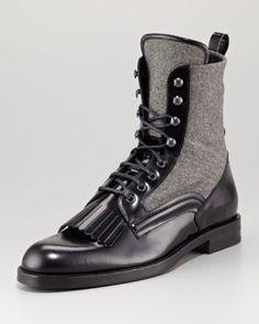 Jimmy Choo Chesham Leather/Flannel Roper Boot for men