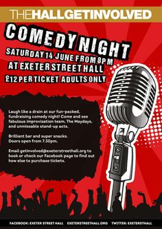 #Comedy 2nite! 7.30pm @Exeter Street Hall #brighton #standup Tix £12 (or £9 for 4+) pls RT