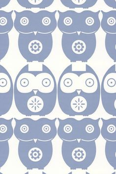 A fun and quirky wallpaper featuring an all over design of stylised owls