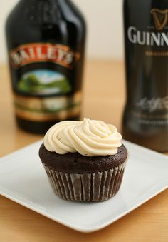 Guinness cupcakes with Bailey's Irish Cream frosting.