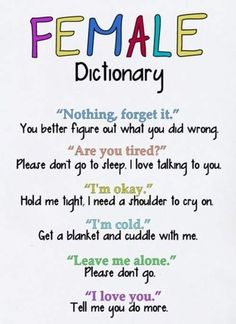 Female Dictionary- takes a clever man to figure it out and I found him!! :-)