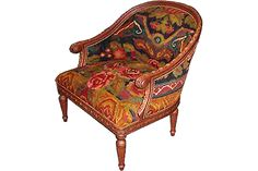 "Turned Leg Floral Vintage Kilim Club Chair. D36"" X W34"" X H34"". Seat Depth 33"" Seat Width 20 ½""  Patrick Charles Ltd"