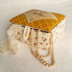 Items similar to Handmade Fabric Box - Cozy Brown - Quilting Fabric Covered Patchwork Box for Jewelry and Sewing - Fall Beige Mustard Pink - Made to Order on Etsy Triangular Pattern, Paisley Fabric, Fabric Boxes, Wood Gifts, Fabric Strips, Yellow Leather, Fabric Covered, Pink And Green, Etsy Seller