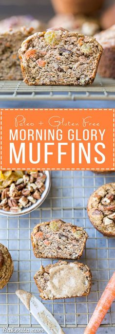 These Paleo Morning Glory Muffins are loaded with bananas, shredded carrots, toasted walnuts, and golden raisins. These easy muffins have NO added sugar - they're sweetened entirely with bananas!