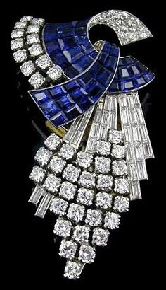 Diamond and Sapphire Brooch.