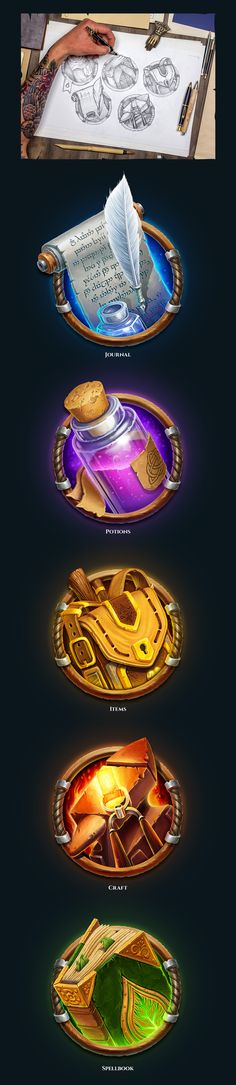 RPG interface & illustration on Behance