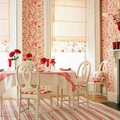 green and pink cozy Country Dining Room  | Red-white-Scandinavian-inspired-country-dining-room.jpeg