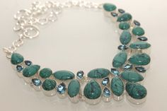SUPER VINTAGE TURQUOISE-BLUE QUARTZ NECKLACE  925 STERLING SILVER NECKLACE 705 #925silverpalace #Charm