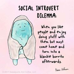 They exhibit extroverted behavior but instead of feeling energized afterward, as a true extrovert would, a social introvert may feel drained. Introvert Vs Extrovert, Introvert Love, Introvert Personality, Introvert Quotes, Introvert Problems, Infp, Introvert Funny, Personality Types, Anxiety Facts
