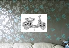 Motor Scooter Personalised Word Art A4 Print, FREE UK P&P. Special Gift, Typography, Retro, Vespa, Lambretta, - pinned by pin4etsy.com