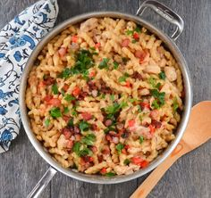 Great Weeknight Dinner Recipe: Chicken and Bacon Pasta Skillet. Make a hearty meal in less than 30 minutes!
