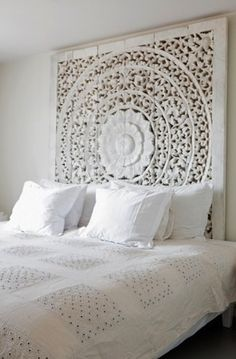 White Decor ...(love this because it's a headboard AND wall decor!--I've seen smaller versions of this at Home Goods--need big, though-L)