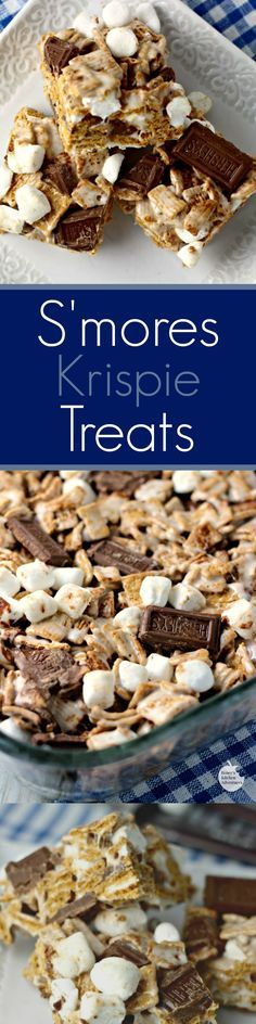 S'mores Krispie Treats | by Renee's Kitchen Adventures - easy dessert or snack recipe for krispie treats with traditional s'mores flavor. Perfect for summer!
