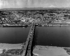 1962 shot looking north over the Interstate Bridge at Vancouver USA. Notice that Mount St. Helens has a much more pointy head :) Vancouver Washington, Clark County, Historical Photos, Old Photos, Bridge, America, River, History, Wwii