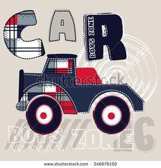 big car cartoon for boys, T-shirt design vector illustration