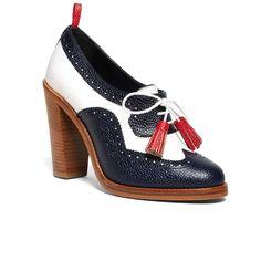 Brooks Brothers LEATHER WINGTIP ($195) ❤ liked on Polyvore featuring shoes, brooks brothers, leather shoes, wing tip shoes, wingtip shoes and high heel shoes