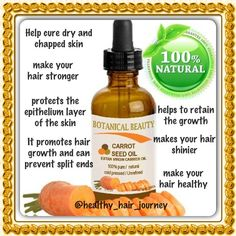 Carrot Seed Oil Natural Hair Tips, Natural Hair Styles, Natural Beauty, Hair Cure, Natural Women, Strong Hair, Beauty Recipe, Oils For Skin, Hair Journey