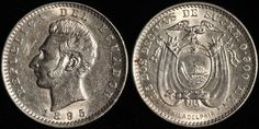 #Ecuador 2 Decimos, 1895 TF. KM 51.4. Check it out and more World Coins at meridiancoin.com or come by our store in #Torrance CA. #coin #money #collecting #numismatic #numismatist