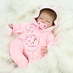 NPKDOLL Reborn Bambola molle del bambino di simulazione del silicone vinile da 18 pollici 45 centimetri magnetica Bocca realistica del coniglio di giocattoli per bambini di colore rosa con gli occhi chiusi A1IT