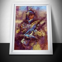 Overwatch Poster. Overwatch Ana sniper Painting Print. Mounted Canvas available on request details in listing by LilRedDotDesigns on Etsy