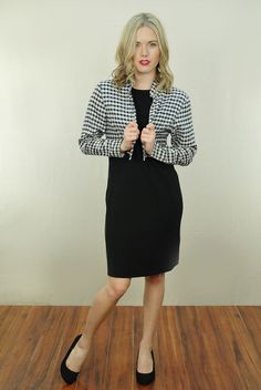 Vtg 80s Black Checkered Cropped Bolero Grunge Party Blazer Dress Coat Small | eBay