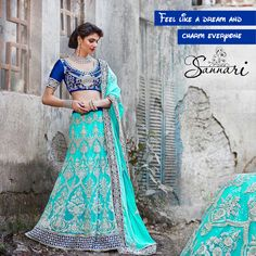 Feel like a dream and charm everyone with Sannari's Blue lehanga.  Style is what will make you come live in events. Make it more live with Sannari.  For and order or Queries be in touch with us on: +919586099777 (Call or Whatsapp) Shop at www.sannarinx.com #fashiontrends #fashioninindia