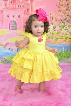 Diy Crafts - Baby princess Belle dress by SoSoHippo on Etsy Girls Belle Dress, Princess Belle Dress, Princess Dresses, Disney Princess, Kids Frocks Design, Baby Frocks Designs, African Dresses For Kids, Little Girl Dresses, Baby Girl Dress Patterns