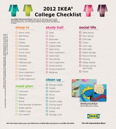 Use IKEA's dorm checklist to make sure you have all your housing needs.