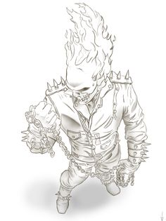 is doing another art jam, and i promised i'd do lines for him to color. Ghost Rider Entry for Art Jam Sketchbook Drawings, Cool Art Drawings, Cartoon Sketches, Art Sketches, Ghost Rider Drawing, Ghost Rider Tattoo, Comic Books Art, Comic Art, Arte Do Kawaii
