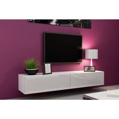 zwevend tv-meubel hoogglans wit greeploos 140 cm