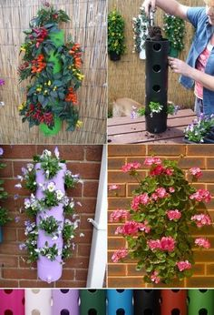 DIY Vertical Planter- great option for an herb garden if low on space! This is my spring-chore :-) DIY Vertical Planter- great option for an herb garden if low on space! Plantador Vertical, Vertical Planter, Vertical Gardens, Garden Planters, Garden Art, Garden Design, Balcony Garden, Diy Garden, Hanging Planters