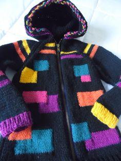 Veste zippée à capuche pour enfant de 4 ans, fond noir avec jacquard couleurs vives : Mode filles par annbcreation