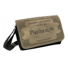 Large Messenger Bag Bookbag, Field Bag, Crossbody, Reporter Bag - Harry Potter inspired Hogwarts Platform ticket 9 3/4 Back to School