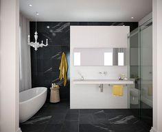 Baño en blanco y negro - Estudio Minosa Design - Tecno Haus