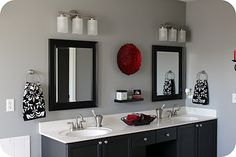 Beautiful black and red bathroom