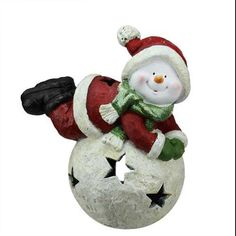 """15"""" Red and Green Snowman and Snowball Christmas Tea Light Candle Holder"""