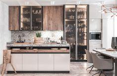 Modern Home Decor Kitchen Modern Kitchen Cabinets, Kitchen Dinning, Kitchen Sets, Home Decor Kitchen, Kitchen Interior, New Kitchen, Home Kitchens, Dining Room, Modern Home Interior Design