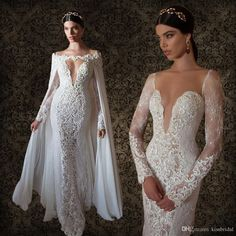 Short Wedding Dresses 2015 Berta Bridal Sexy Plunging V Neck Wedding Dresses With Ivory Lace Long Sleeves Sheer Back With Cape Vintage Mermaid Bridal Gowns 2016 Affordable Wedding Dress From Kissbridal, $171.66| Dhgate.Com