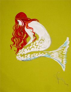 Ginger Chic of the Sea II - Original Mermaid painting by Gretchen Kelly. $60.00, via Etsy.