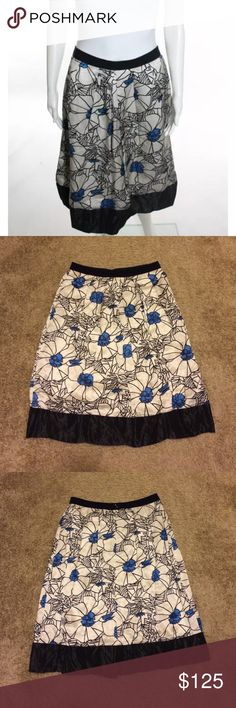 "Gorgeous Lida Baday silk skirt size 8 Lida Baday skirt size 8.  Silk skirt with grosgrain ribbon at waist.  Beautiful floral design with zip closure in back.  Waist is 15"" across laying flat, length is 26"".  Excellent condition. Lida Baday Skirts"