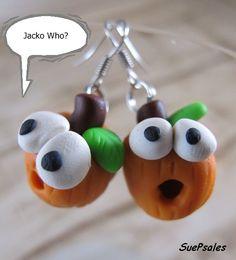 Halloween Earrings Thanksgiving Earrings Pumpkin by SuePsales, $6.00