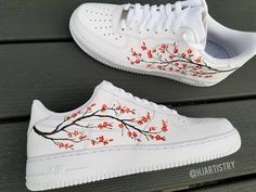 flowers sakura Behind The Scenes By hjartistry Custom Painted Shoes, Custom Shoes, Trendy Shoes, Casual Shoes, Zapatillas Nike Air Force, Nike Shoes Air Force, White Nike Shoes, Aesthetic Shoes, Cute Sneakers