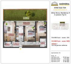 Apartamente de vanzare Mihai Bravu Residence 9 -3 camere tip D + Floor Plans, Floor Plan Drawing, House Floor Plans