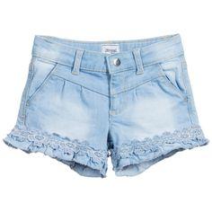 Girls Light Blue Denim Embroidered Shorts, Mayoral, Girl