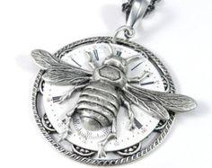 Steampunk Necklace, SALE Clockwork Honey Bee Watch Face Teardrop, Steampunk Jewelry by Compass Rose Design