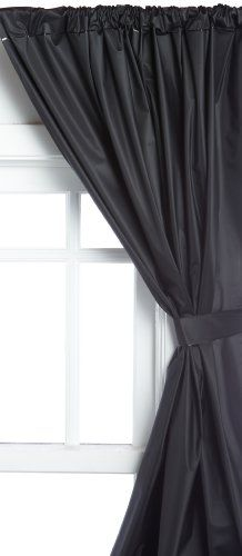Carnation Home Fashions Vinyl Bathroom Window Curtain, Black: 5 Gauge Vinyl Bathroom  Window Curtain With Two Tie Backs, Size Wide By Long